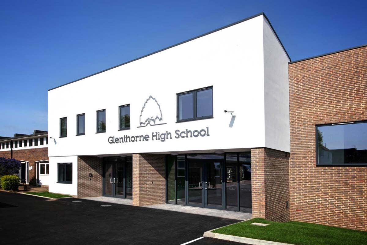 Glenthorne High School, Sutton: The HUB – new main entrance, LRC and classrooms linking 3no existing buildings