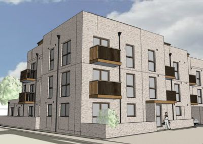 26no New Flats and works to widen the highway; High Street, Addlestone, Surrey